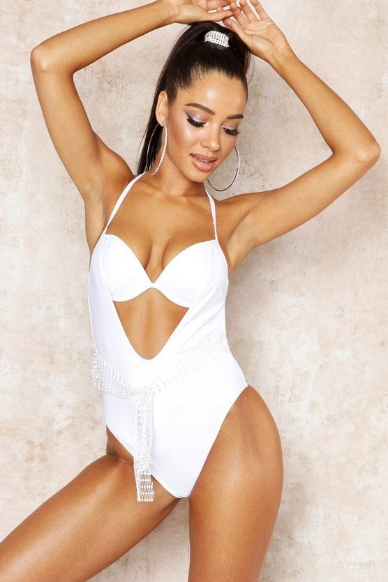 Womens White Jewelled Net Underwired Swimsuit