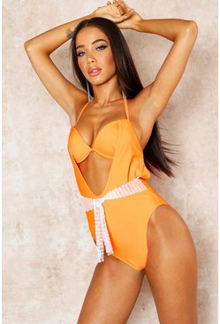 Womens Orange Jewelled Net Underwired Swimsuit