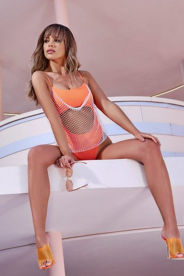 Womens Orange Jewelled Net Cut Out Bandeau Swimsuit