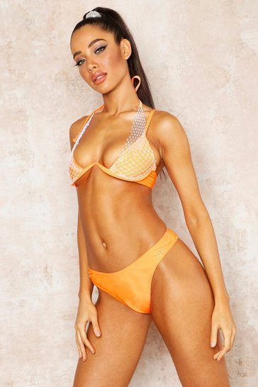 Womens Orange Jewelled Net Underwired Bikini