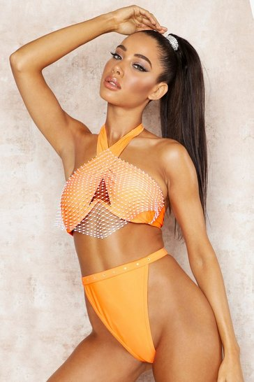 Womens Orange Premium Jewelled Halterneck Underwired Bikini