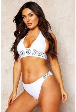 Womens White Premium Mix & Match Jewelled Bikini Brief