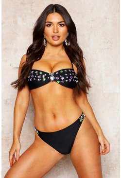 Womens Black Premium Mix And Match Jewelled Bikini Brief