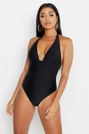 Black Control Halterneck Swimsuit
