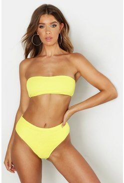 Womens Yellow Mix & Match Crinkle Bandeau Top