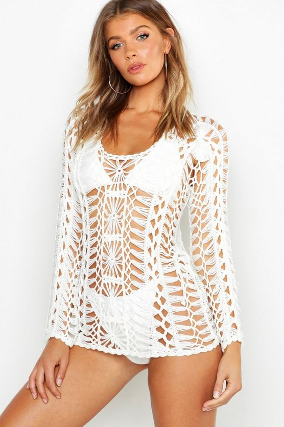 Crochet Long Sleeve Beach Coverup