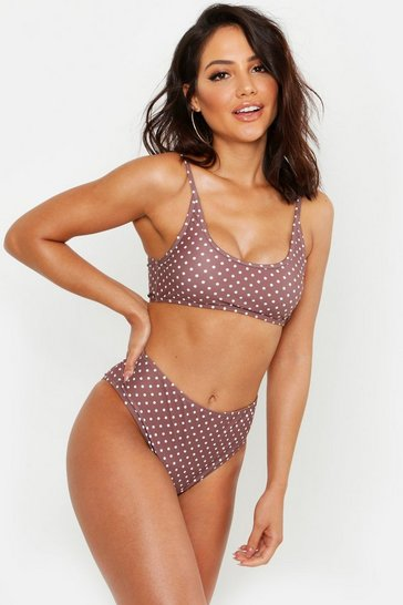 Womens Coffee Polka Dot Super Cropped Bikini