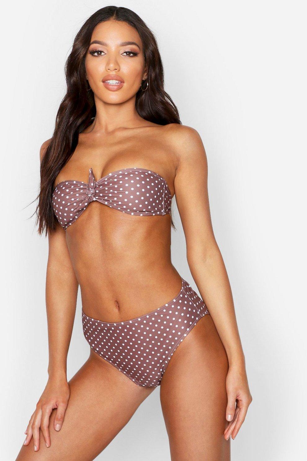 b0108a3930 Knot Front Bandeau Bikini   Boohoo