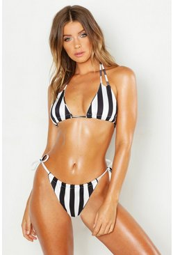 Womens White Mono Stripe Adjustbale Bikini