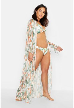 Womens White Bamboo & Leaf Open Sleeve Maxi Beach Kimono