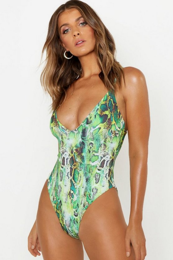 Womens Green Neon Snake Scoop Swimsuit