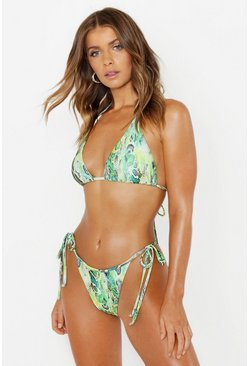 Womens Green Neon Snake Triangle Bikini