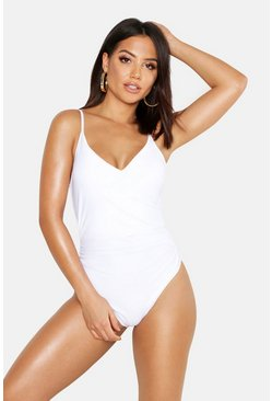 Womens White Control Wrap Over Swimsuit