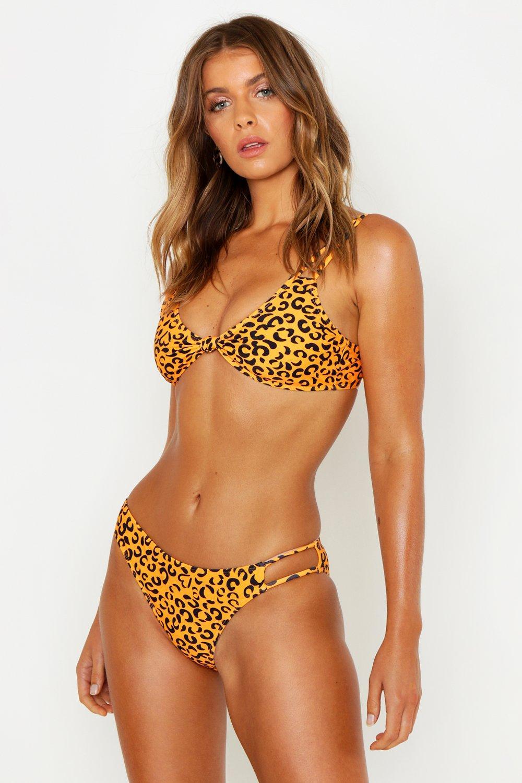 Tangerine Leopard Strappy Knot Bikini