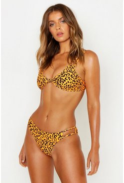 Womens Orange Tangerine Leopard Strappy Knot Bikini