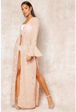 Womens Nude Foil Star Print Bell Sleeve Maxi Cover Up