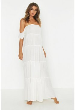 Bardot Cheese Cloth Maxi Beach Dress, Cream, MUJER