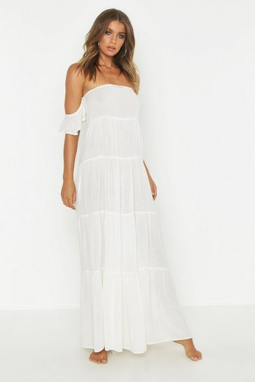 Womens Cream Bardot Cheese Cloth Maxi Beach Dress