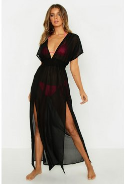 Split Leg Chiffon Beach Maxi Dress, Black