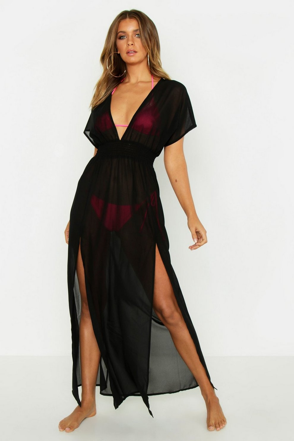 e8438ce829 Womens Black Split Leg Chiffon Beach Maxi Dress