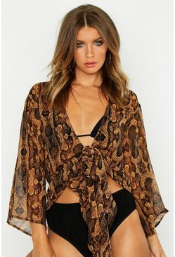 Snake Print Tie Waist Chiffon Beach Top, Brown, ЖЕНСКОЕ
