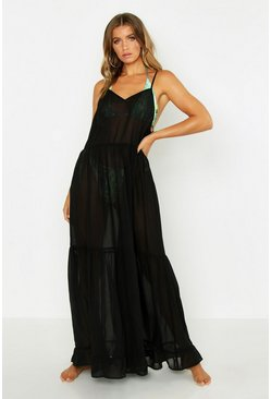 Tiered Chiffon Beach Maxi Dress, Black, MUJER