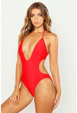 Womens Red Kos Deep Plunge Swimsuit