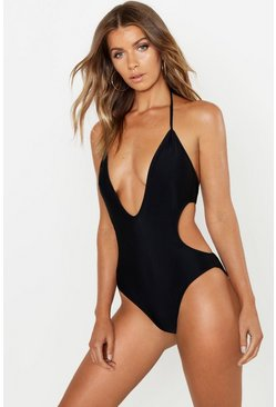 Womens Black Deep Plunge Swimsuit