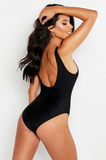 Womens Black Scoop Back Swimsuit