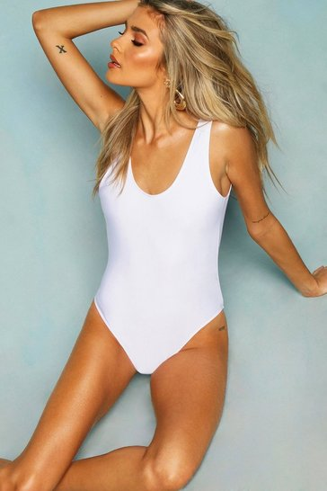 White Scoop Back Swimsuit