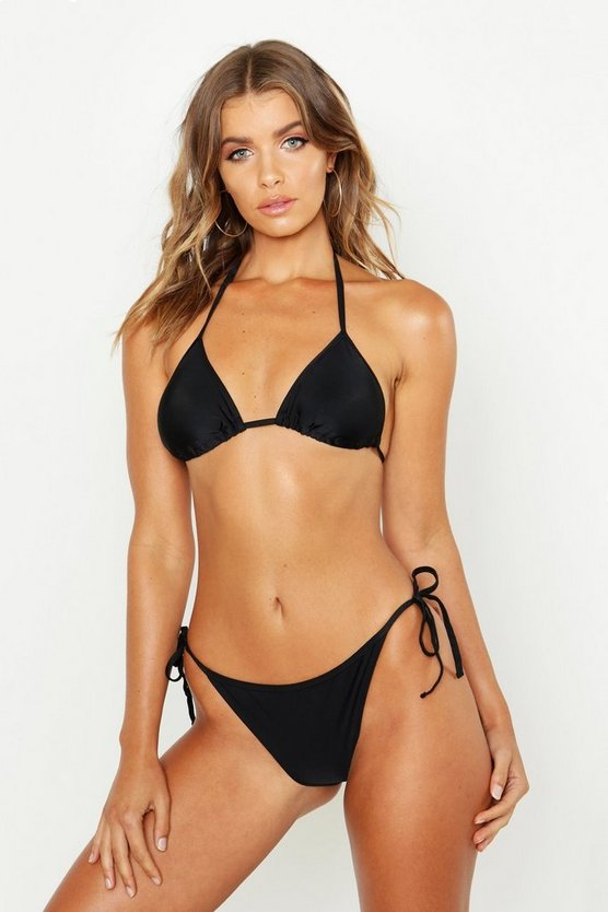 Womens Black Triangle Bikini Set