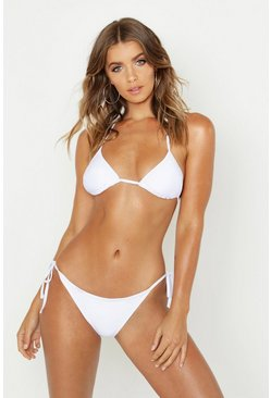Womens White Triangle Bikini Set