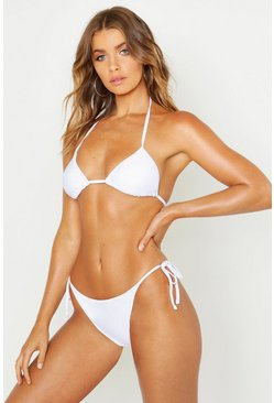 Womens White Mix & Match Tie Side Brief