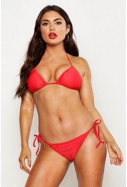 Womens Red Triangle Bikini Set