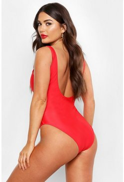 Womens Red Scoop Back Swimsuit