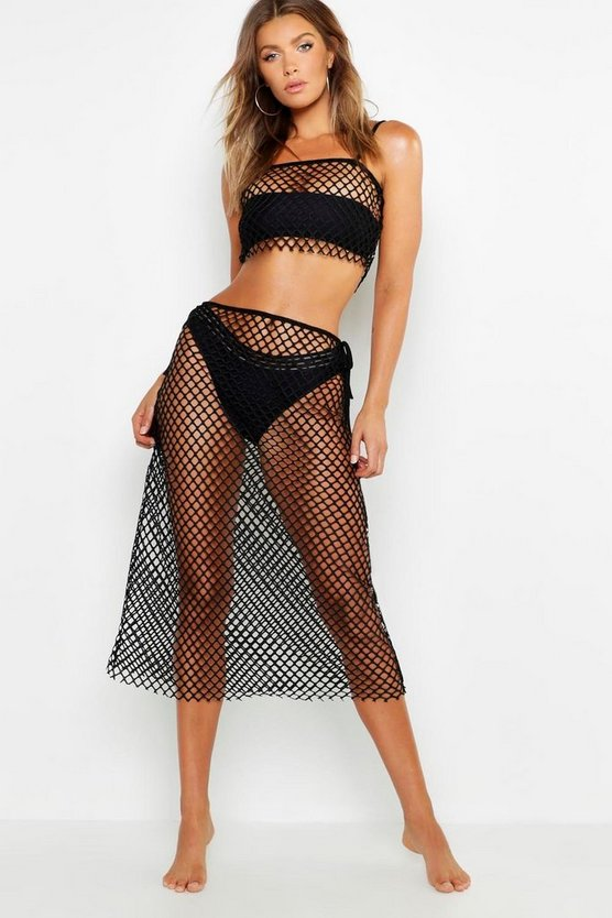 Womens Black Fishnet Maxi Beach Skirt Co-Ord