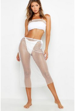 Fishnet Maxi Beach Skirt Co-Ord, White, MUJER