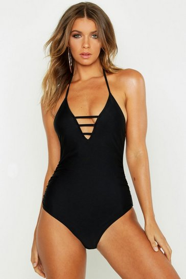 Womens Black Control Wrap Over Cross Front Swimsuit