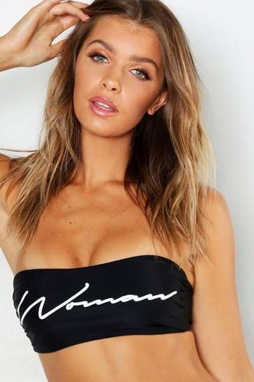 Womens Black Woman Bandeau Top