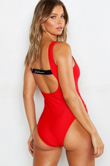 Womens Red Woman Strappy Back Scoop Swimsuit