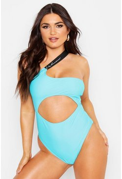 Womens Turquoise Woman Cut Out Swimsuit