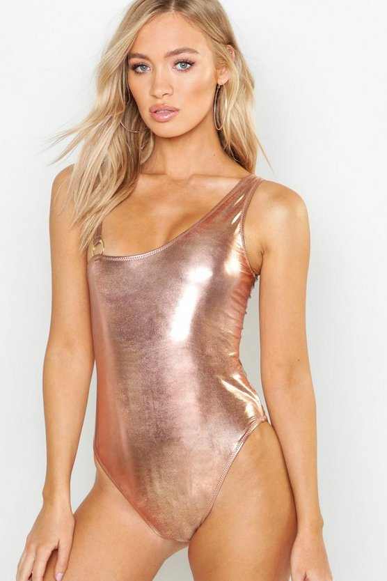 Metallic Asymetric Ring Detail Swimsuit