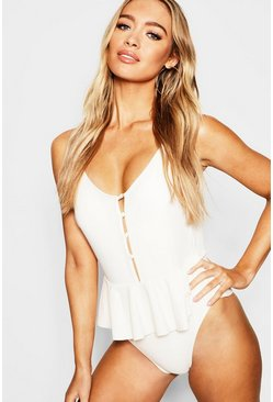 Cream High Cut Peplum Button Detail Swimsuit