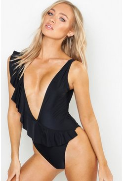 Womens Black Plunge Ruffle Detail Swimsuit