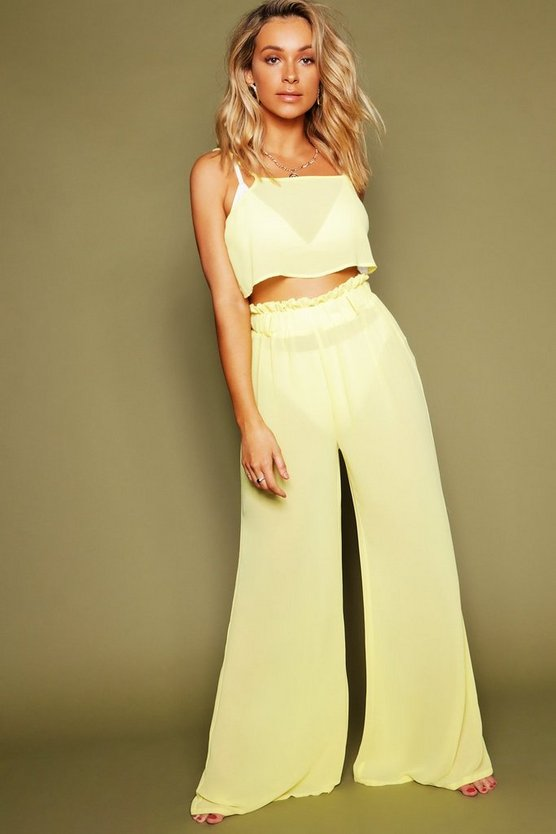 Womens Mustard Paper Bag Pants Beach Coord
