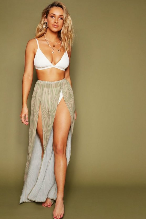 Zebra Print Split Leg Beach Pants