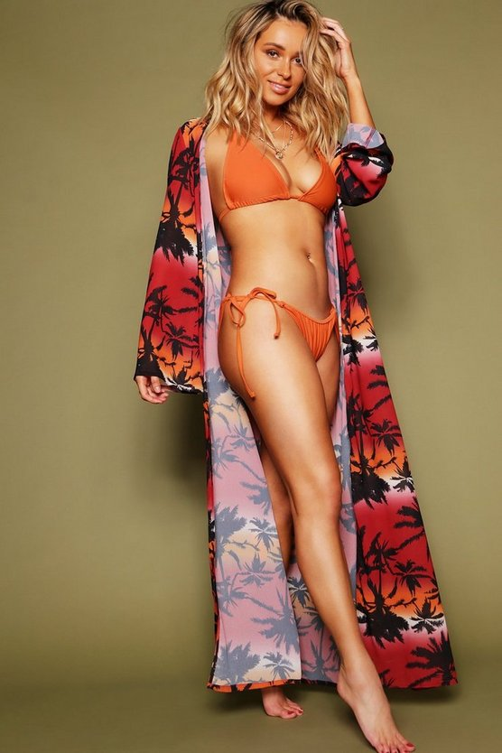 Black Palm Print Duster Beach Cover Up