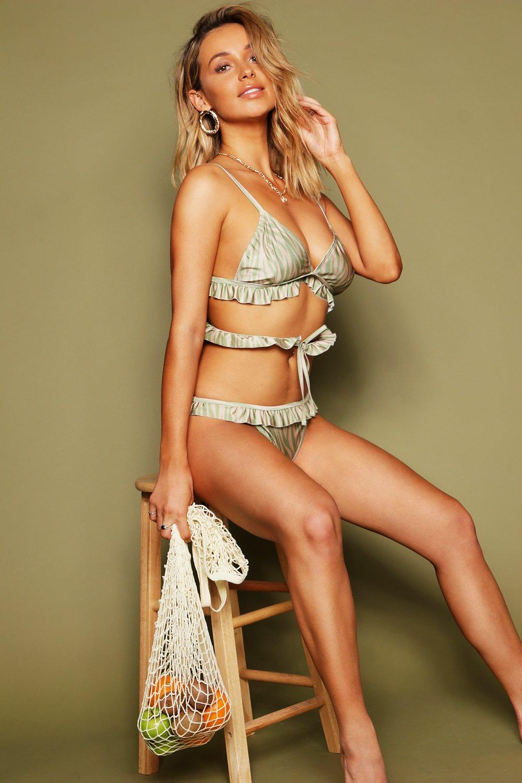 Tiger Print Frill Cross Front Bikini