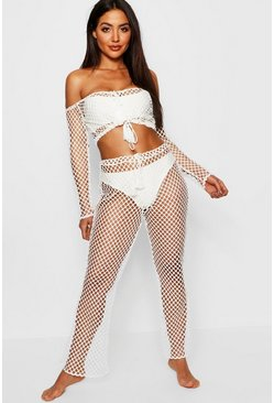 Womens White Fishnet Tie Front Beach Co-ord