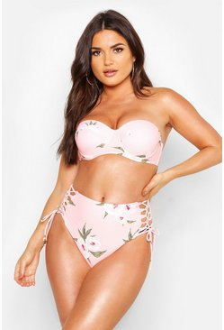 Orange Floral Underwired High Waisted Bikini